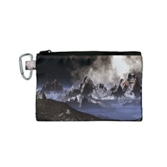 Mountains Moon Earth Space Canvas Cosmetic Bag (small)