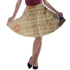 Art Collage Design Colorful Color A Line Skater Skirt