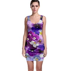 Graphic Background Pansy Easter Bodycon Dress