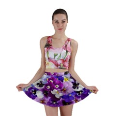 Graphic Background Pansy Easter Mini Skirt