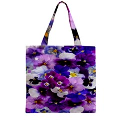 Graphic Background Pansy Easter Zipper Grocery Tote Bag
