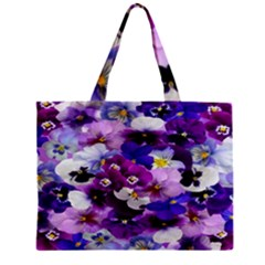 Graphic Background Pansy Easter Zipper Mini Tote Bag