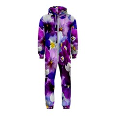 Graphic Background Pansy Easter Hooded Jumpsuit (kids)