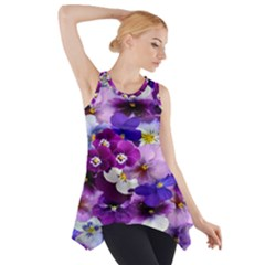 Graphic Background Pansy Easter Side Drop Tank Tunic