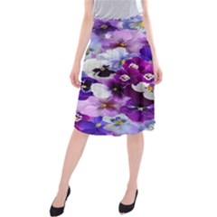 Graphic Background Pansy Easter Midi Beach Skirt