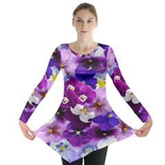 Graphic Background Pansy Easter Long Sleeve Tunic