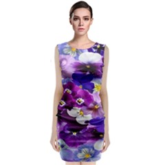 Graphic Background Pansy Easter Classic Sleeveless Midi Dress