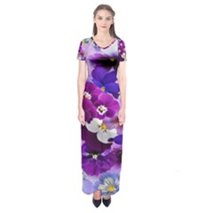 Graphic Background Pansy Easter Short Sleeve Maxi Dress