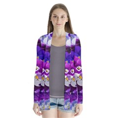 Graphic Background Pansy Easter Drape Collar Cardigan