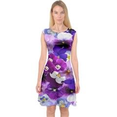 Graphic Background Pansy Easter Capsleeve Midi Dress