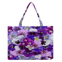 Graphic Background Pansy Easter Zipper Medium Tote Bag