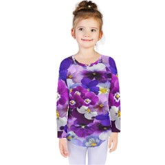Graphic Background Pansy Easter Kids  Long Sleeve Tee