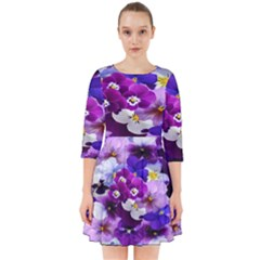 Graphic Background Pansy Easter Smock Dress