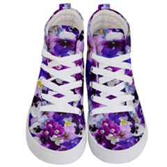 Graphic Background Pansy Easter Kid s Hi Top Skate Sneakers