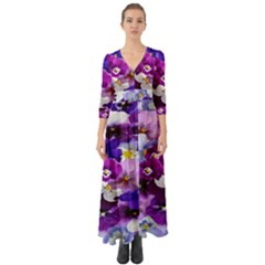 Graphic Background Pansy Easter Button Up Boho Maxi Dress