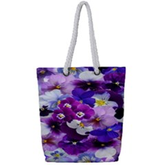 Graphic Background Pansy Easter Full Print Rope Handle Tote (small)