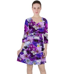 Graphic Background Pansy Easter Ruffle Dress