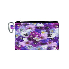 Graphic Background Pansy Easter Canvas Cosmetic Bag (small)
