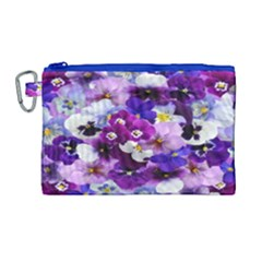 Graphic Background Pansy Easter Canvas Cosmetic Bag (large)