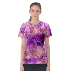 Flowers Blossom Bloom Nature Color Women s Sport Mesh Tee