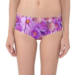 Flowers Blossom Bloom Nature Color Mid Waist Bikini Bottoms