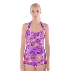 Flowers Blossom Bloom Nature Color Boyleg Halter Swimsuit