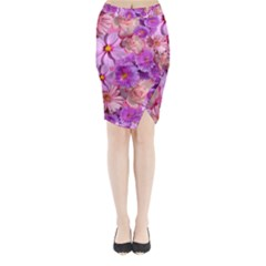 Flowers Blossom Bloom Nature Color Midi Wrap Pencil Skirt