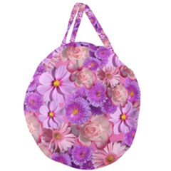 Flowers Blossom Bloom Nature Color Giant Round Zipper Tote