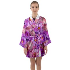 Flowers Blossom Bloom Nature Color Long Sleeve Kimono Robe