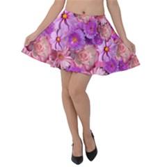 Flowers Blossom Bloom Nature Color Velvet Skater Skirt