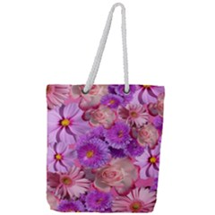Flowers Blossom Bloom Nature Color Full Print Rope Handle Tote (large)