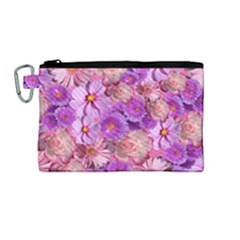 Flowers Blossom Bloom Nature Color Canvas Cosmetic Bag (medium)