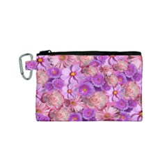 Flowers Blossom Bloom Nature Color Canvas Cosmetic Bag (small)