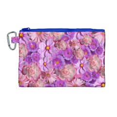 Flowers Blossom Bloom Nature Color Canvas Cosmetic Bag (large)