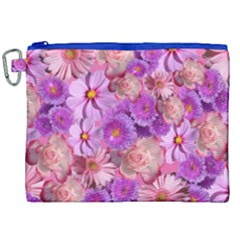 Flowers Blossom Bloom Nature Color Canvas Cosmetic Bag (xxl)