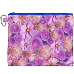 Flowers Blossom Bloom Nature Color Canvas Cosmetic Bag (xxxl)