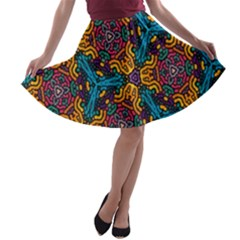 Grubby Colors Kaleidoscope Pattern A Line Skater Skirt