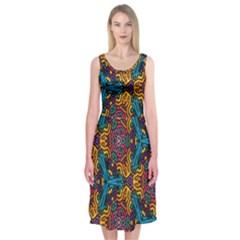 Grubby Colors Kaleidoscope Pattern Midi Sleeveless Dress