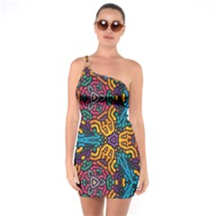Grubby Colors Kaleidoscope Pattern One Soulder Bodycon Dress
