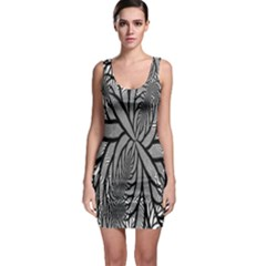 Fractal Symmetry Pattern Network Bodycon Dress