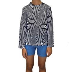 Fractal Symmetry Pattern Network Kids  Long Sleeve Swimwear