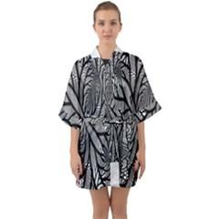 Fractal Symmetry Pattern Network Quarter Sleeve Kimono Robe
