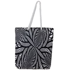 Fractal Symmetry Pattern Network Full Print Rope Handle Tote (large)