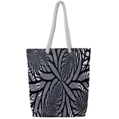 Fractal Symmetry Pattern Network Full Print Rope Handle Tote (small)
