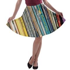 Bookcase Books Data Education A Line Skater Skirt
