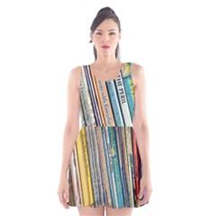 Bookcase Books Data Education Scoop Neck Skater Dress