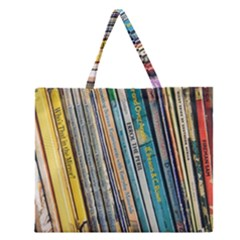 Bookcase Books Data Education Zipper Large Tote Bag