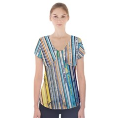 Bookcase Books Data Education Short Sleeve Front Detail Top