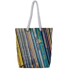 Bookcase Books Data Education Full Print Rope Handle Tote (small)