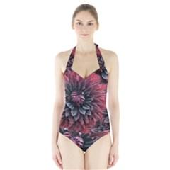 Flower Fractals Pattern Design Creative Halter Swimsuit